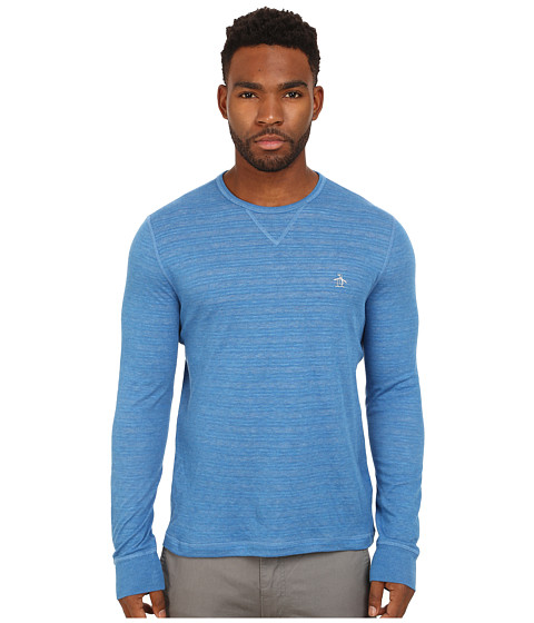 Imbracaminte Barbati Original Penguin Reversible Long Sleeve Tee Vallarta Blue