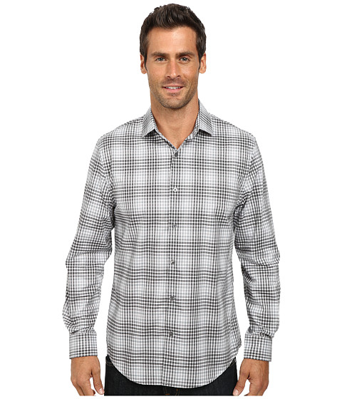 Imbracaminte Barbati Perry Ellis Long Sleeve Non-Iron Ombre Plaid Pattern Shirt Black