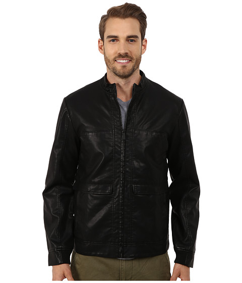 Imbracaminte Barbati Perry Ellis Textured Faux Leather Bomber Black