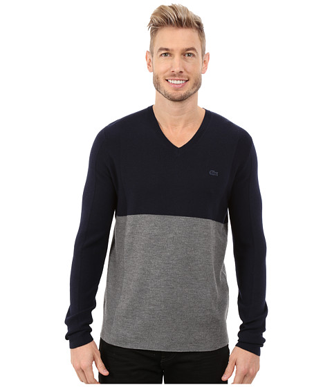 Imbracaminte Barbati Lacoste Mixed Stretch Wool Rib V-Neck Sweater Navy BlueStone Chine