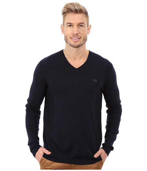 Imbracaminte Barbati Lacoste Mixed Stretch Wool Rib V-Neck Sweater Navy BlueNavy Blue