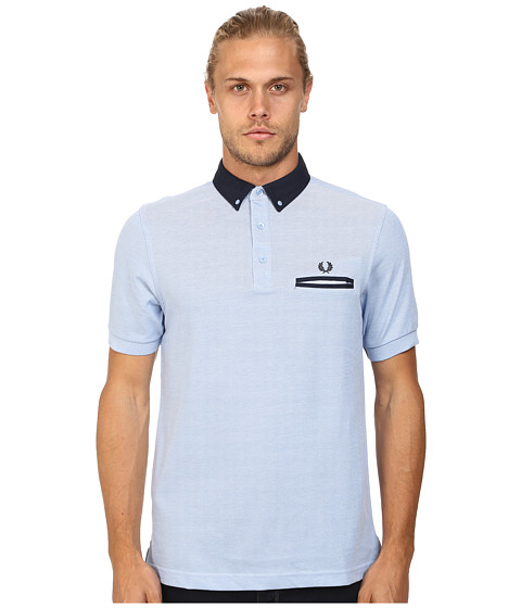 Imbracaminte Barbati Fred Perry Woven Trim Pique Shirt Light Smoke Oxford