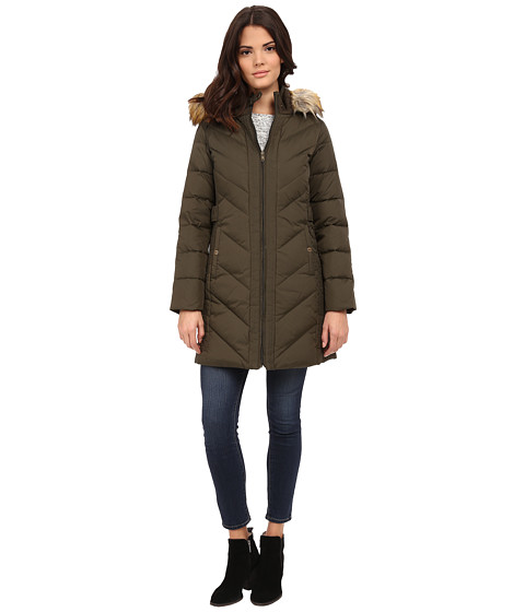 Imbracaminte Femei Larry Levine 34 Chevron Down with Knit Faux Racoon Hood Fur Trim Military Green