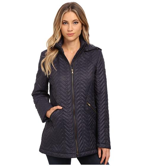 Imbracaminte Femei Larry Levine Short Chevron Zip Front Quilt with Hood Midnight