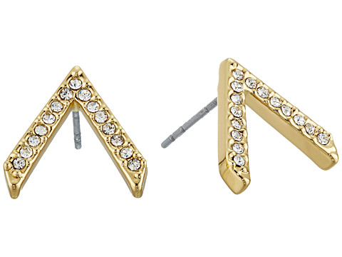 Bijuterii Femei Rebecca Minkoff Pave V Button Earrings GoldCrystal