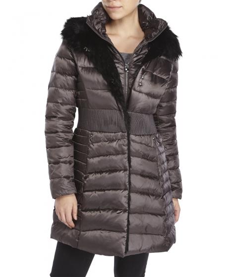 Imbracaminte Femei Laundry by Shelli Segal Faux Fur Trim Cinched Waist Down Coat Charcoal