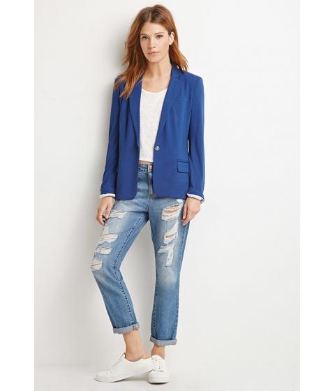 Imbracaminte Femei Forever21 Contemporary Single-Button Knit Blazer Navy