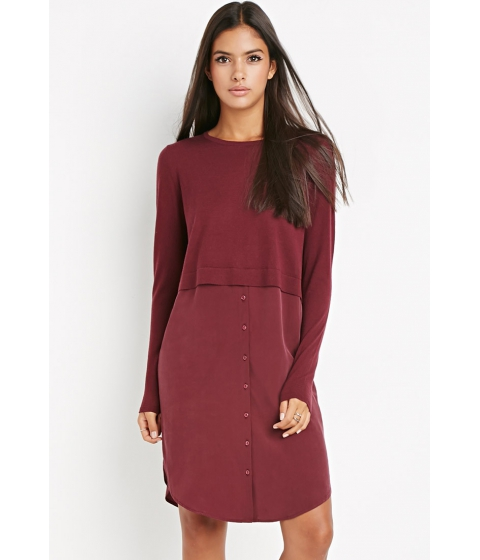 Imbracaminte Femei Forever21 Contemporary Genuine Silk Combo Dress Wine