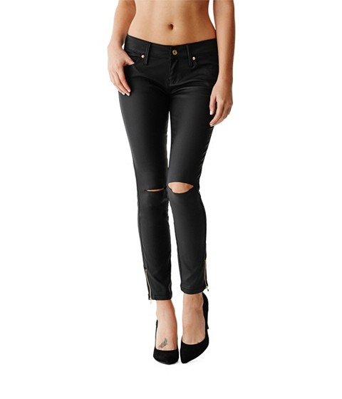 Imbracaminte Femei GUESS Celilia Ankle-Zip Skinny Jeans in Black Coated Destroy Wash black coated