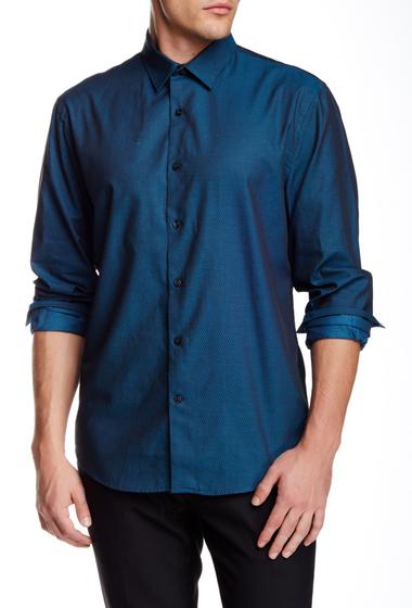 Imbracaminte Barbati Perry Ellis Geo Diamond Print Long Sleeve Regular Fit Shirt MEDITERRANIAN BLUE
