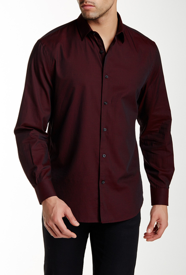 Imbracaminte Barbati Perry Ellis Geo Diamond Print Long Sleeve Regular Fit Shirt BIKING RED