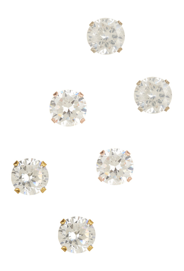 Bijuterii Femei Savvy Cie Mixed Tone Round Simulated Diamond Stud Earrings - Set of 3 silver-white-yellow-pink