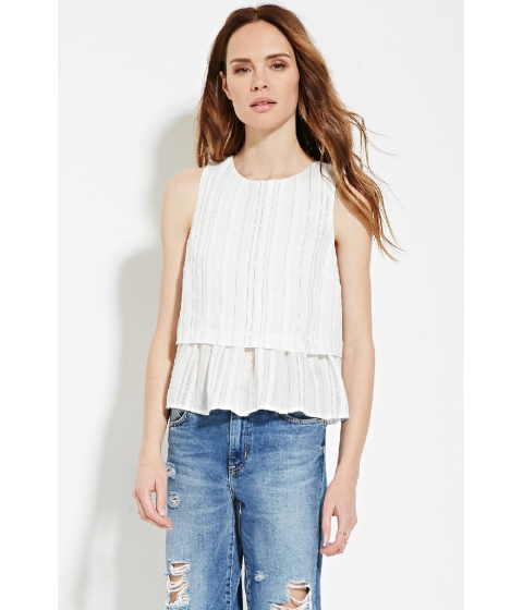 Imbracaminte Femei Forever21 Contemporary Tonal-Stripe Top Ivoryblack
