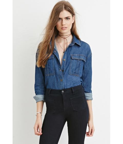 Imbracaminte Femei Forever21 Contemporary Buttoned Denim Shirt Dark denim