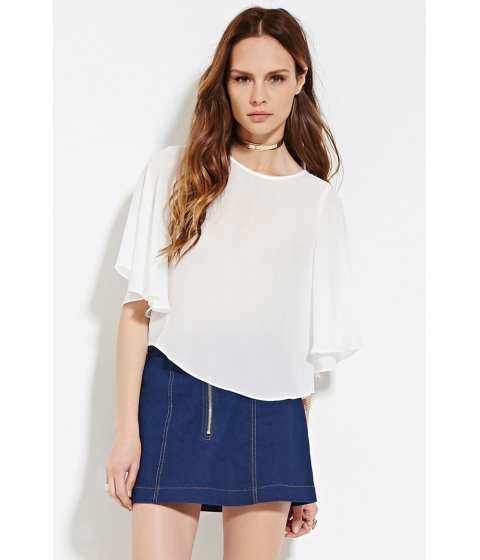 Imbracaminte Femei Forever21 Contemporary Flutter Sleeve Top Ivory