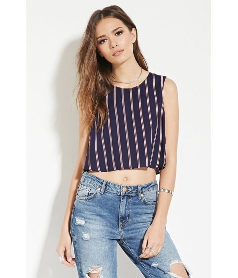 Imbracaminte Femei Forever21 Contemporary Stripe Crop Top Navyred