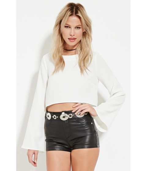 Imbracaminte Femei Forever21 Bell-Sleeve Crop Top Ivory