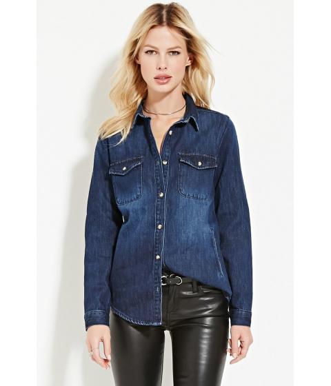 Imbracaminte Femei Forever21 Contemporary Classic Denim Shirt Dark denim