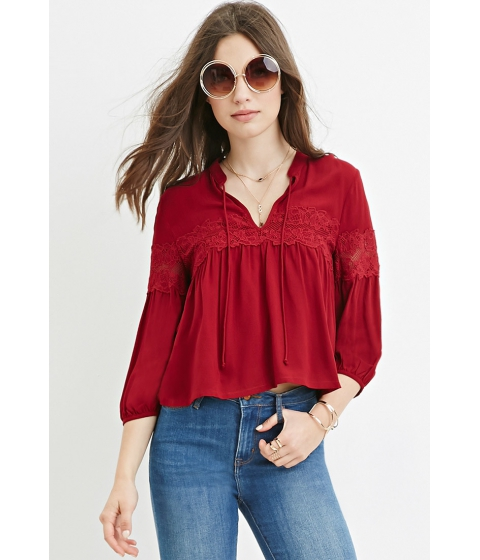 Imbracaminte Femei Forever21 Floral Lace-Trim Top Wine