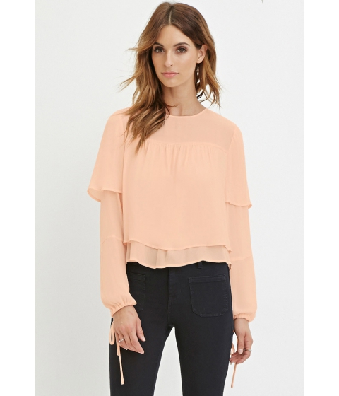 Imbracaminte Femei Forever21 Contemporary Layered Chiffon Blouse Peach