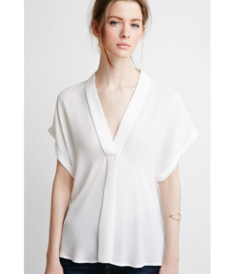 Imbracaminte Femei Forever21 Contemporary V-Neck Shawl Collar Blouse Ivory