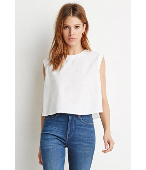 Imbracaminte Femei Forever21 Contemporary Boxy Cotton Top White