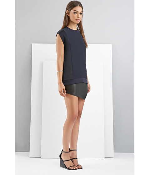 Imbracaminte Femei Forever21 FOXIEDOX Paneled Boxy Top Navy