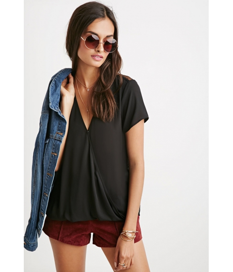 Imbracaminte Femei Forever21 Lace-Paneled Twist Surplice Top Black
