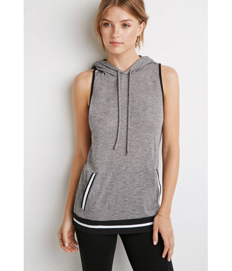 Imbracaminte Femei Forever21 Contemporary Stripe-Trimmed Hooded Top Heather greyblack