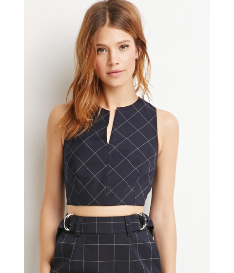 Imbracaminte Femei Forever21 Contemporary Plaid V-Cut Crop Top Navygrey