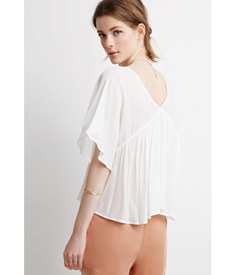 Imbracaminte Femei Forever21 Contemporary Angel-Sleeved Top Cream