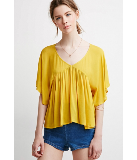 Imbracaminte Femei Forever21 Contemporary Angel-Sleeved Top Mustard