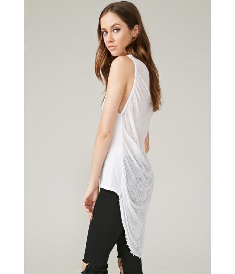 Imbracaminte Femei Forever21 Marina T Shredded Sheer-Back Tank White