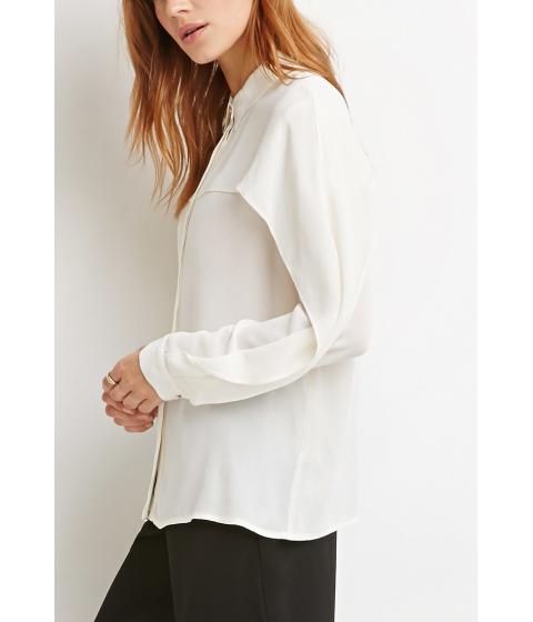 Imbracaminte Femei Forever21 Contemporary Layered Crepe Shirt Cream