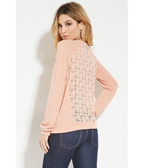 Imbracaminte Femei Forever21 Crochet-Back Sweatshirt Peach