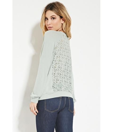 Imbracaminte Femei Forever21 Crochet-Back Sweatshirt Sage