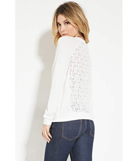 Imbracaminte Femei Forever21 Crochet-Back Sweatshirt Cream