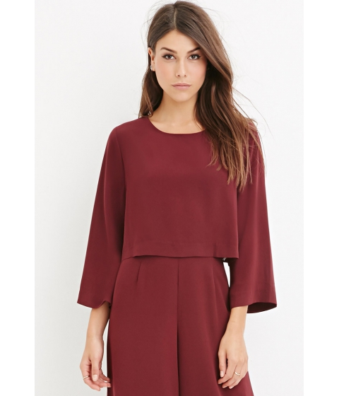 Imbracaminte Femei Forever21 Contemporary Dolman-Sleeved Crop Top Burgundy