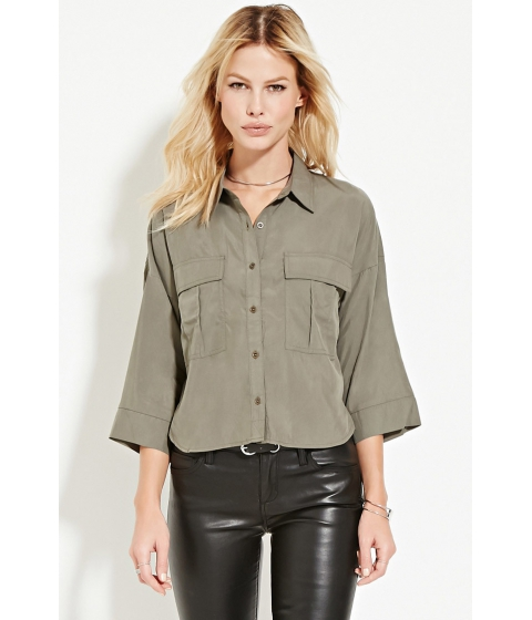 Imbracaminte Femei Forever21 Contemporary Round Hem Pocket Shirt Olive