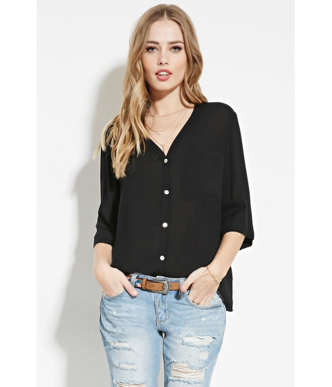 Imbracaminte Femei Forever21 Twisted-Back Buttoned Top Black