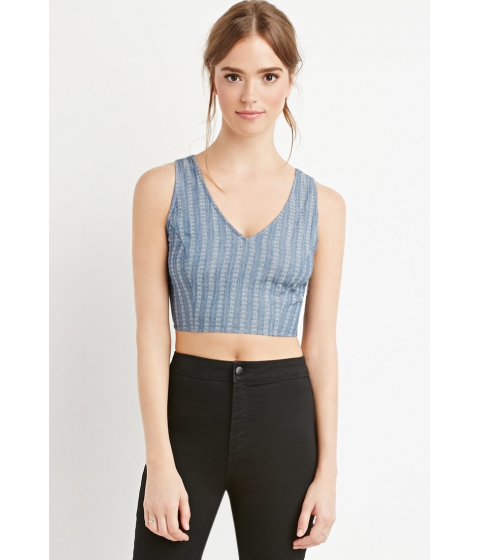 Imbracaminte Femei Forever21 Cutout Chambray Crop Top Blue
