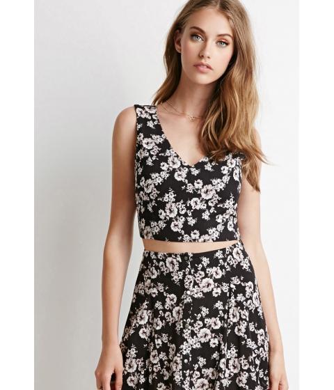 Imbracaminte Femei Forever21 Floral Gauze Crop Top Blackwhite