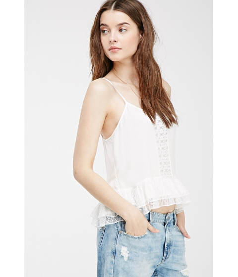 Imbracaminte Femei Forever21 Embroidered Lace-Paneled Cami Cream