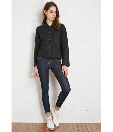 Imbracaminte Femei Forever21 Buttoned Linen Shirt Black