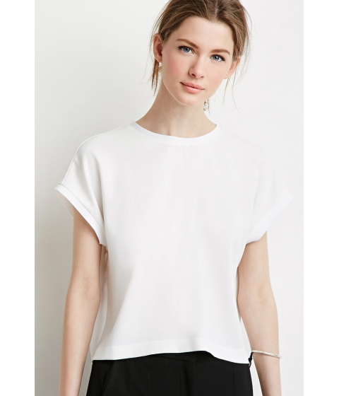 Imbracaminte Femei Forever21 Contemporary Ribbed-Trim Top Ivory