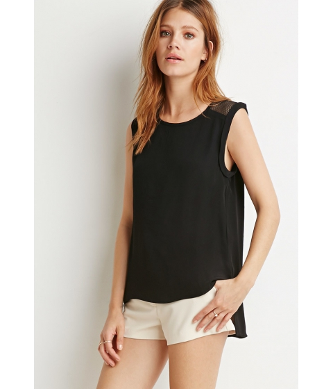 Imbracaminte Femei Forever21 Contemporary Netted Mesh-Paneled Top Black