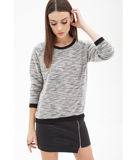 Imbracaminte Femei Forever21 Marled Contrast-Trim Sweatshirt Blackcream