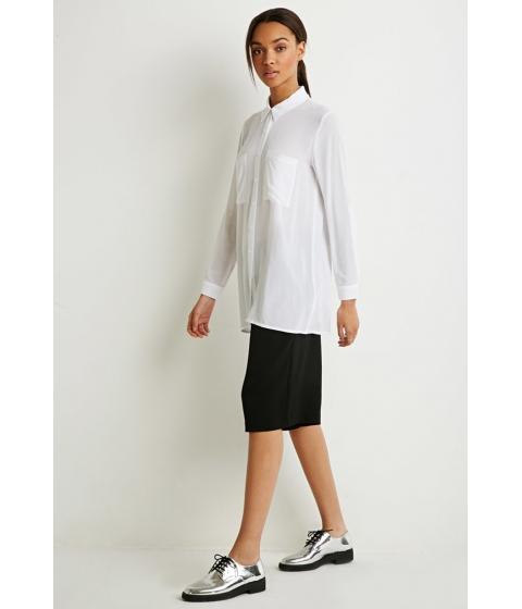 Imbracaminte Femei Forever21 Longline Two-Pocket Shirt White