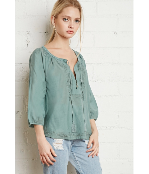 Imbracaminte Femei Forever21 Embroidered Peasant Blouse Sage
