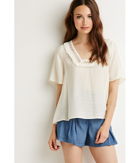Imbracaminte Femei Forever21 Contemporary Tassel Striped Top Cream